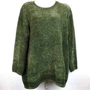 Woman Within Sweater Green Chenille Knit Crewneck